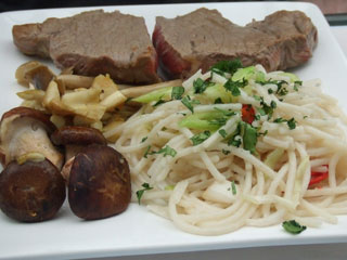 Sirloin Steak with Mushrooms and Noodles